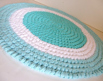 Thick Cotton Bath Mat, Aqua Blue and White Boy's Nursery Rug, Plush and Durable Round Rag Rug Inspired, Crochet Bathroom Rug, Spa Collection