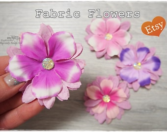 Handmade foam flowers foamiran flowers set of 6 handmade flowers 4 handmade fabric flowers pink purple colours for cards scrapbooking embellishment cardmaking handmade flowers thecheapjerseys Images