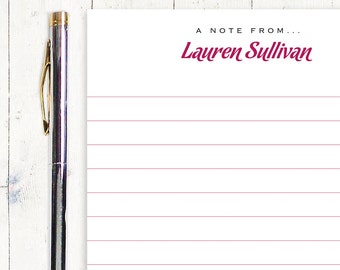 personalized notePAD - LINED CHOOSE FONT - stationery - stationary - letter writing paper