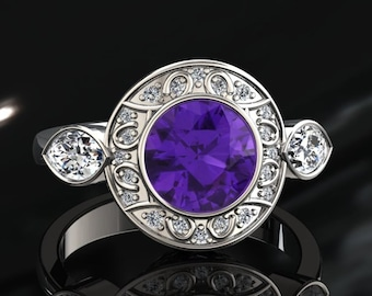 Amethyst And Moissanite Ring 1.00 Carat Amethyst Engagement Ring 14k or 18k White Gold Style Number W19PUW