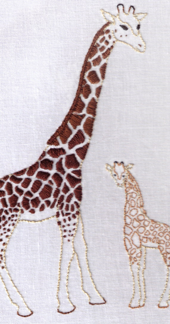 Giraffes Hand Embroidery Pattern African Mother Baby