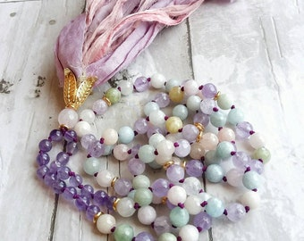 Mala-Yoga meditation prayer beads- cancer gift- sari silk- healing crystals- mala necklace- boho- pastel- gift for her- yoga jewelry- yogi