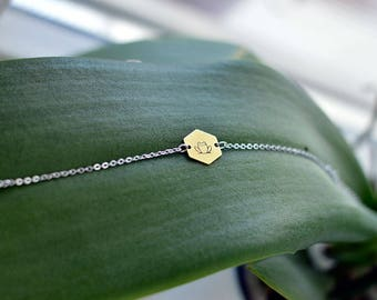 FROG bracelet // silver and raw brass // hand stamped jewelry