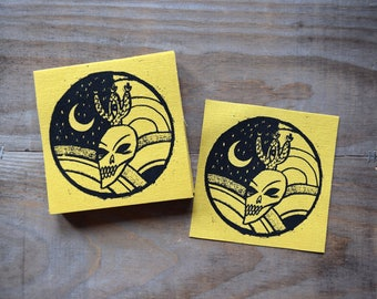 Skull/Cactus/Moon Canvas Patch - Pale Yellow Canvas