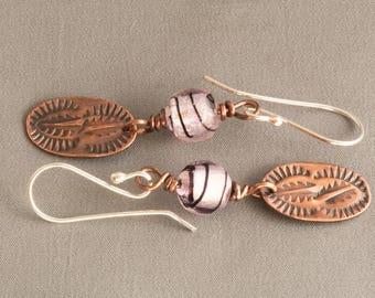 Copper Earrings, Bead Earrings, Boho Earrings, Gypsy Earrings, Oval Earrings, Dangle earrings, Stamped Earrings, Leaf Earrings,