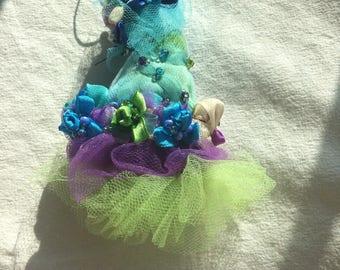 Ornament Blue Green Purple Santa Hat Holiday