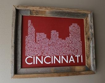 Cincinnati Skyline Word Art Print (Red) Unframed