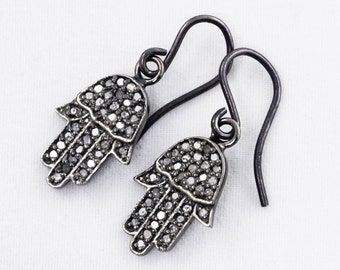 Pavé Diamond Hamsa Hand Oxidized Silver Dangle Pavé Diamond Jewelry Precious Stone Earrings PD-E-105-os