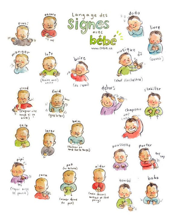Baby Sign Language Poster Printable French And English