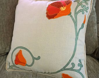 California poppies textile art decorative throw pillow