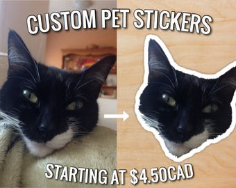 Custom Pet Stickers (Custom Cat, Dog, Rodent, Reptile, Horse, Pet Portrait, Paper Stickers, Scrapbooking, Animal Stickers, Pet Stickers)