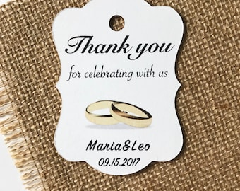 Wedding Favor Tags, Personalized Thank You tags,Wedding Shower Tags,Engagement Favor tags in sets of 20