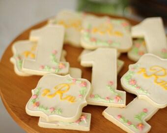 Monogrammed Sugar Cookie, baby cookies, first birthday cookies