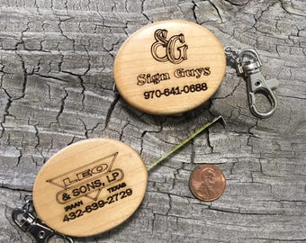 Custom engraved maple tape measure key chain, Custom Key Chain, 10 Pack