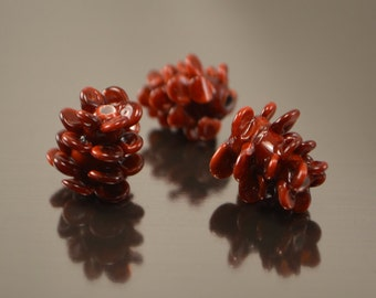 Fir-cone beads, handmade lampwork forest beads,Glass beads, Artisan lampwork beads, forest beads, Lampwork fir-cone, glass fir-cone