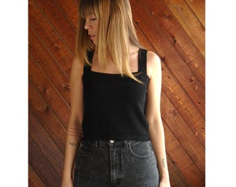 Black Luxe Knit Crop Sweater Tank - Vintage 90s - S/M
