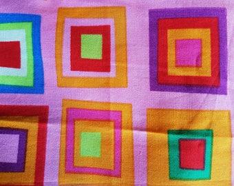 Fabrics coupons cotton print square multicolored 52 x 30 cm