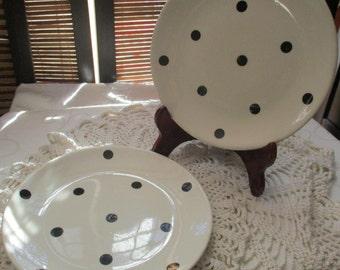 Swinnertons Black and White Dotty  Retro Vintage Set of Two Side Plates