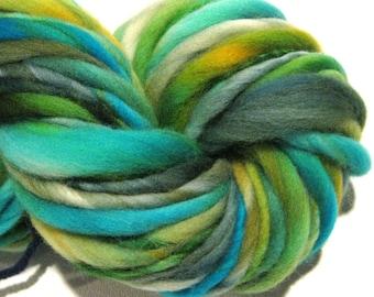 Handspun Yarn bulky thick n thin Watersnake 60 yds turquoise gold green blue hand dyed merino wool waldorf doll hair knitting supplies