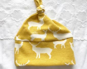 Mustard Yellow Elk Hat, Organic Cotton, Baby Girl, Deer, Adventure, Woodland, Gift, Newborn, Toddler