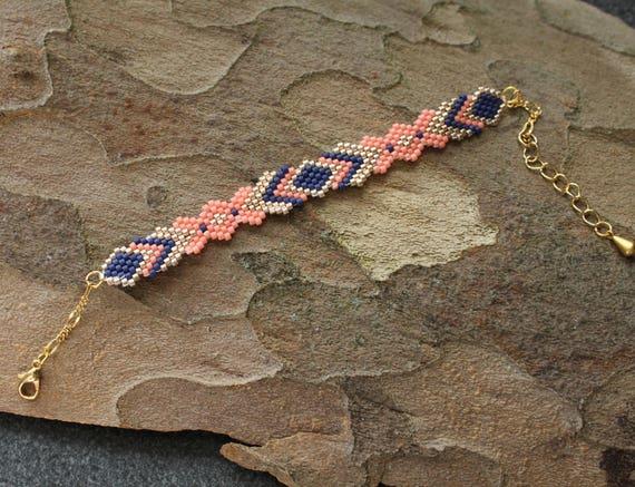 woven beaded bracelet, women bracelet, boho chic bracelet, bracelet beads, Miyuki bracelet.