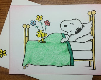 Hand Drawn Snoopy & Woodstock Get Well Soon card 3-1/2 x 5 with Embellished Envelope - Free Shipping