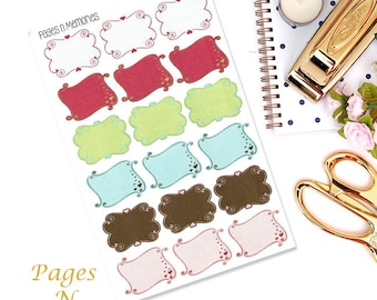 Scroll Boxes Planner Stickers/ Functional Stickers/ Erin Condren/ Plum Paper/ Recollections Planner/ Happy Planner  #139