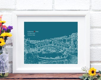 Venice Skyline Newlywed Gift Venice Italy Art Print Personalized Gift Bridal Shower - Venice, Italy, Engagement Gift for Couple