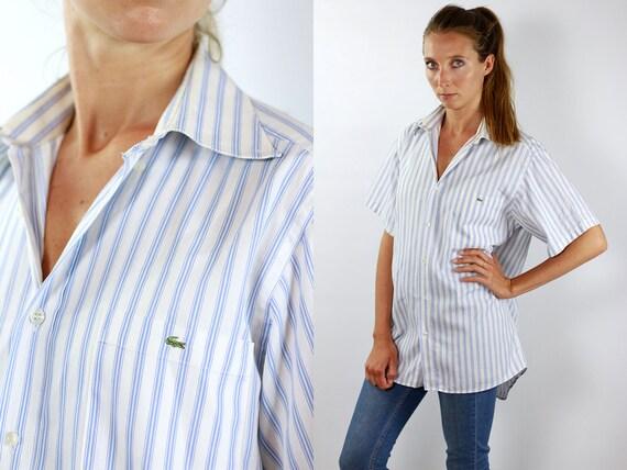 LACOSTE Shirt Striped Lacoste Button Shirt Stripe Lacoste Top Lacoste Vintage Oxford Shirt Lacoste Shirt Striped Shirt Lacoste Shirt Lacoste