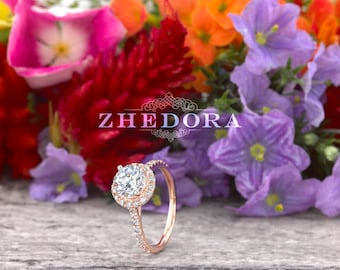 Round Halo Engagement Ring in 14/18K Rose Gold , White Sapphire Engagement Ring, Moissanite Engagement Ring, Rose Gold Bridal Ring , Zhedora