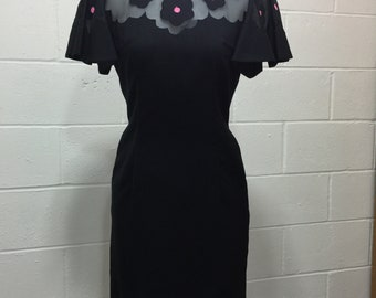Vintage Black Dress with Mesh Top Pink Embroidery
