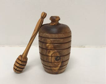 Olive Wood Honey Pot w/ Dipper