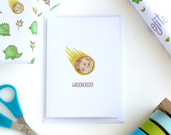 cute little meteor card, funny cards, space cards, birthday cards, congratulations card, cute solar system, kawaii meteor, geology cards