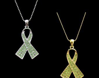 Crystal Lime Green Ribbon Bow Non-Hodgkin Lymphoma Cancer Lyme Disease Awareness Pendant Charm Necklace Silver Tone Gold Tone