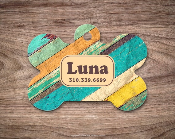 Wood Print Dog Tags Dog Tag for Collar Cute Pet ID Tag Custom Dog Name Tag Wood Puppy Tag Personalized Dog ID Tag Custom Pet Tag for Dog