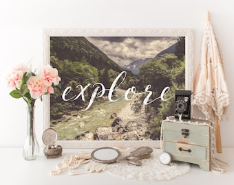 printable quote explore design print calligraphy poster outdoors wanderlust travel poster traveling wall art decor print typography art