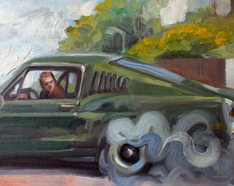 Bullit, 1968, 11x14 inches oil on canvas panel, by Kenney Mencher