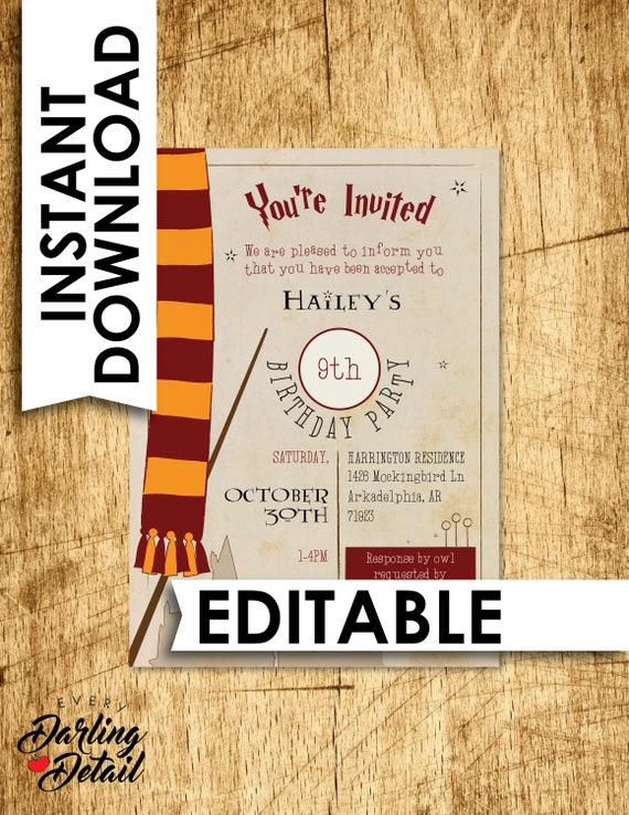 Enterprising image in printable harry potter invitations