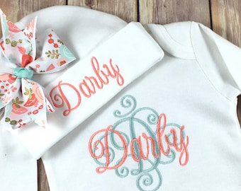 Personalized Coming Home Outfit, Monogram Coral Mint Baby Gown Hat, Newborn Girl Outfit, Baby Girl Coming Home Outfit, Personalize