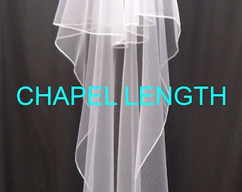 Wedding Veil - CHAPEL LENGTH - 2.5 mm lustre Edged veil on Pale Ivory English Sparkle Tulle