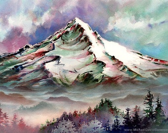 Mount Hood From Larch Mountain -Watercolor Painting Print by Michael David Sorensen. Mt. Hood. Oregon. Pacific Northwest. Trees. Color.