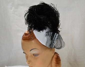 Black and White Cocktail Hat Fascinator