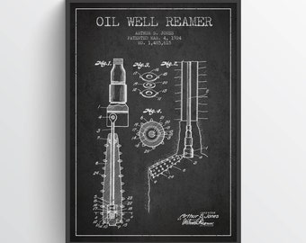 1924 Oil Well Reamer Patent Wall Art Poster, Pump Jack  Poster, Oil Drilling Poster, Home Decor, Gift Idea, PFEN26P