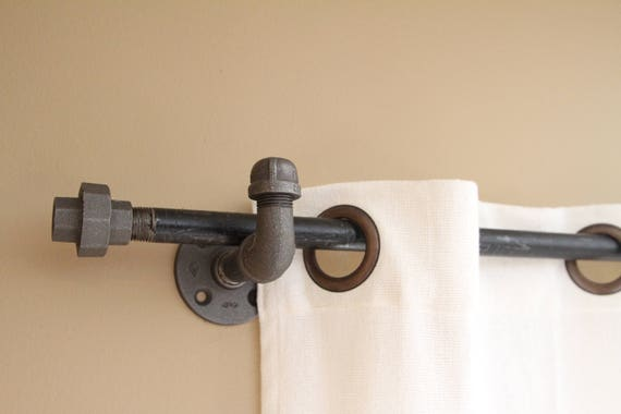 Industrial Iron Pipe Curtain Rods Drapes Valance Bronze Nickel