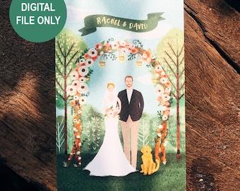 Custom couple portrait, Personalized illustration, Digital, Art, Unique gift, Wedding gift - DIGITAL FILE ONLY