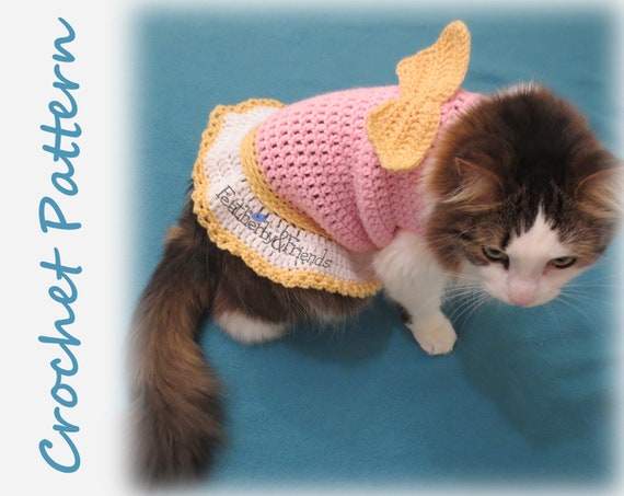 Pattern Crochet Valentines Little Cherub Pet Sweater For Cats Or