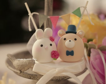 Bunny, Rabbit  and Bear wedding cake topper