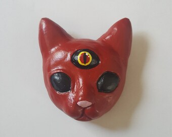 Red psychic kitten pin