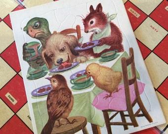 Antique Golden Press, Inc. Playskool Puzzle, Nursery Decor, Animal Tea Party, 1950s Jigsaw , Cardboard Children's toys