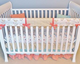 Girl Woodland Crib Bedding - Custom Girls Nursery - Woodland Nursery - Girl Deer Bedding
